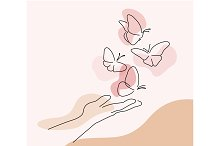 Hand with butterfly on finger. Line