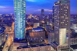 Panorama of modern Warsaw by night