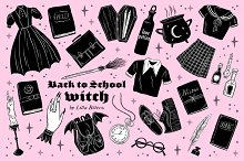 Back to School Witch Clip Art
