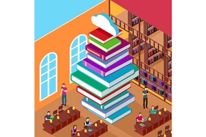 Isometric Library. Stack Books