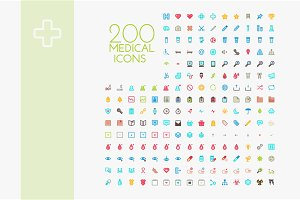 200 x Colorful medical icon