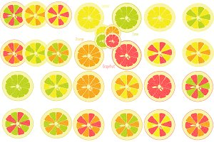 Lemon, lime, orange, grapefruit
