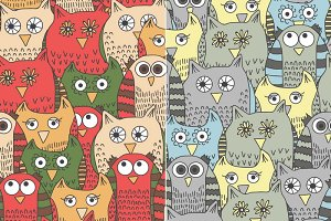 Funny Owls: hand drawn pattern set