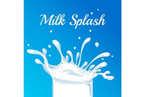 Milk Splash. Vector illustration.