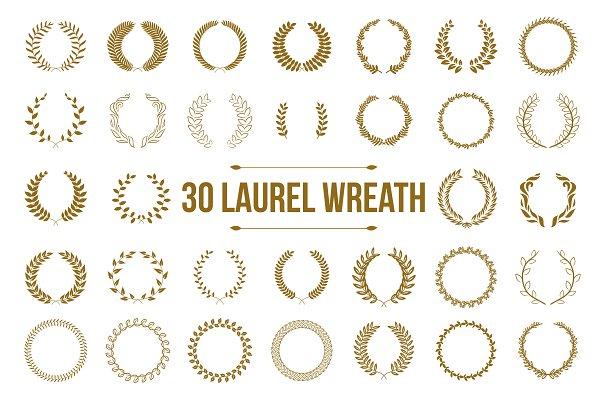 30 Gold circular laurel wreath set