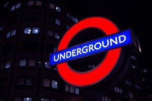 London Underground Sign by Night