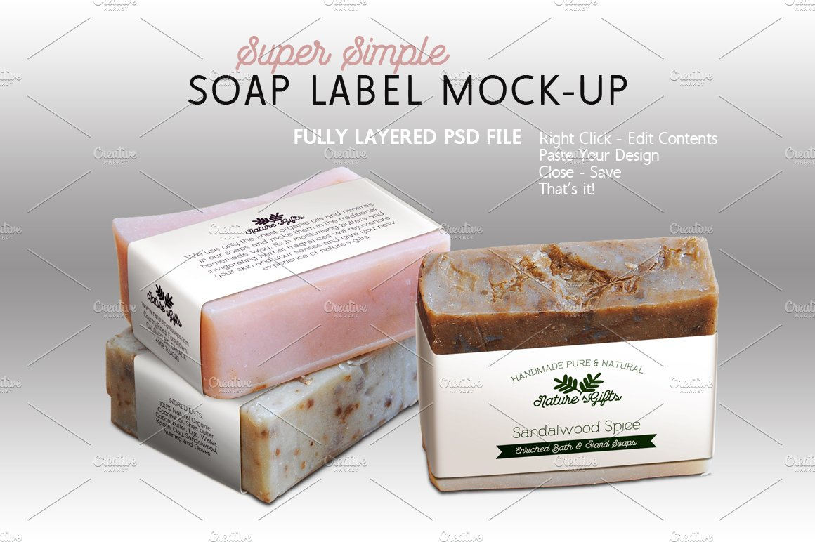 Soap label mock up horizontal templates creative market for Food bar mockup