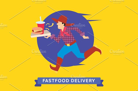 Delivery service of Fast Food Burger