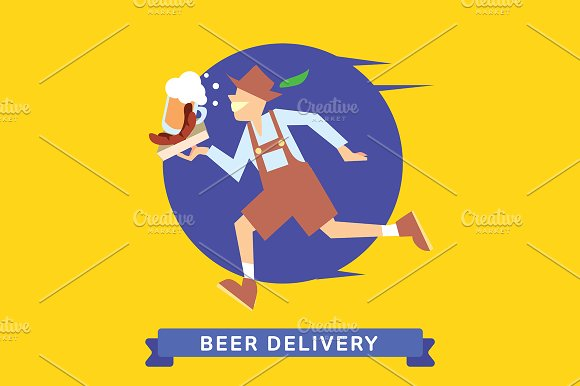 Delivery service of Beer in Illustrations