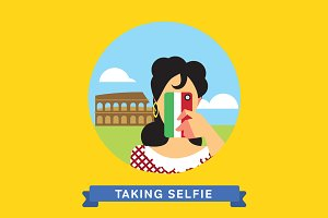 Take a photo selfie in Rome, Italy