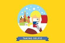Take photo selfie in Moscow, Russia