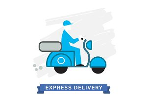 Vector Icon of Delivery Scooter.