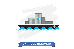 Vector Icon of Delivery Ship.