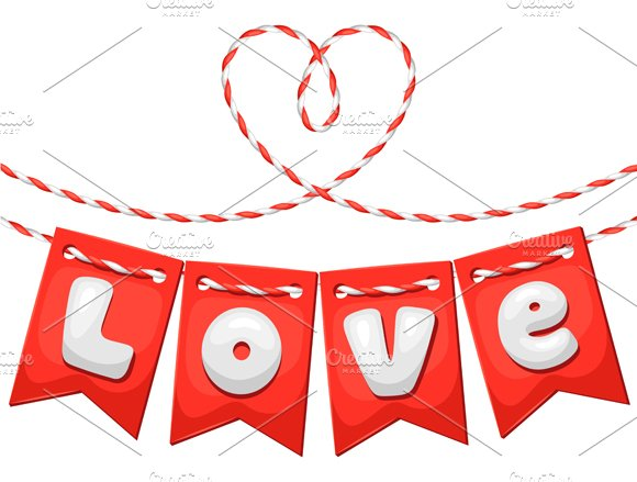 Cards with hearts and flags. in Card Templates - product preview 1