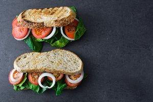 Vegan sandwich with spinach