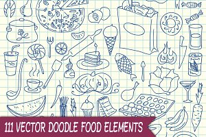 111 Vector Doodle Food Elements