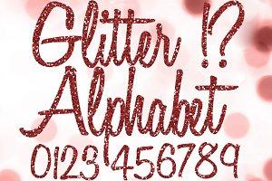 Red Glitter Alphabet Clipart Cursive
