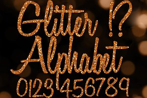 Orange Glitter Alphabet Clip Art Set