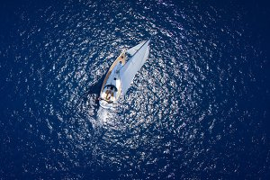 Sailing yacht  in open sea