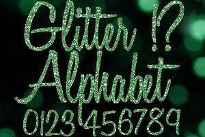 Green Glitter Alphabet Clip Art