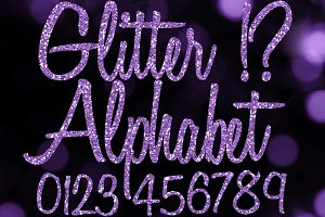 Purple Glitter Alphabet Clip Art