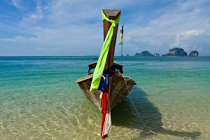 Longtail boat landscape in Thailand