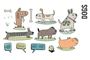 Dogs Doodle Clipart