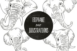 Neo Style Elephant Illustrations