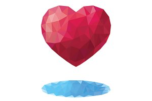 Geometric triangular low poly heart