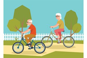 Mature couple on a bicycle