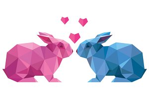 Lovers rabbit in low poly style