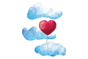 Triangular low poly heart balloon