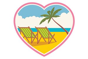 Vector of a beach vacation for lover