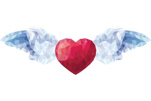 Heart with angel wings in low poly