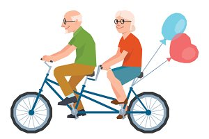Senior lovers couple on tandem bike