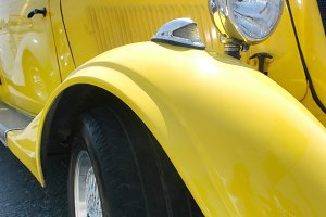 Classic yellow car - wing view