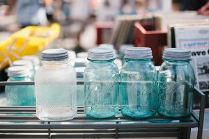 Vintage Mason Jars at Flea Market