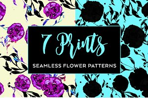 Set stylish seamless floral pattern