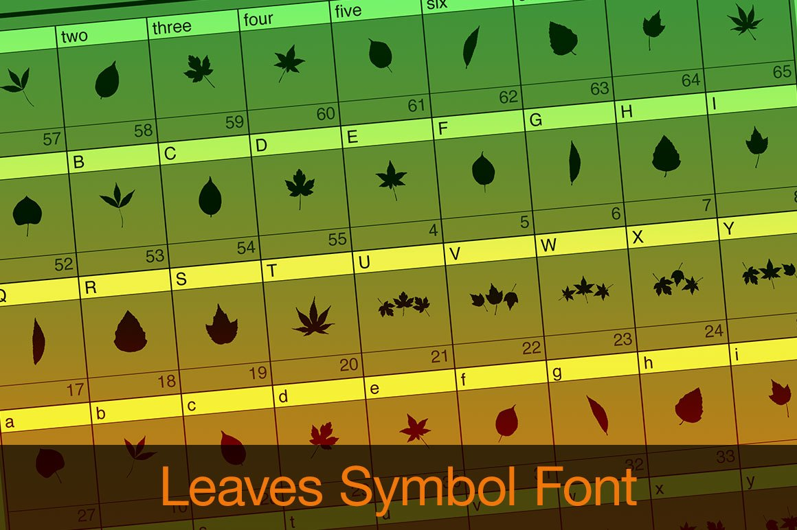 Leaves Symbol Font Fonts Creative Market