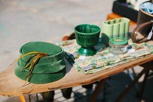 Vintage Green Hat & Vases