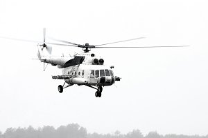 Flying military  helicopter