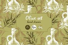 Olive set. Patterns and illustration