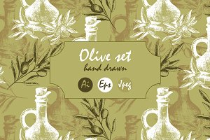 Olive set. Patterns and illustration