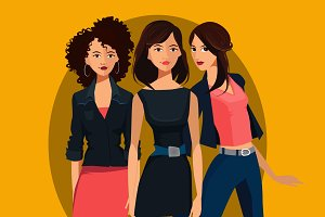 Vector Portret of Three Females