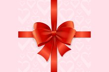 Bow Background Heart. Vector