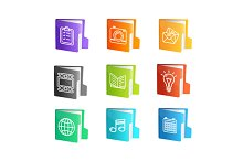 File Folder Colorful Icon Set.