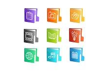 File Folder Colorful Icon Set.
