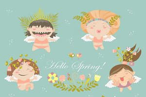 Set of cute spring angels