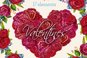 Valentines compositions 17 clip arts
