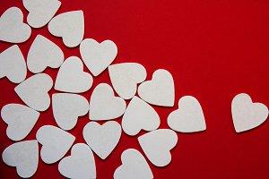 multiple foamy white heart shapes as